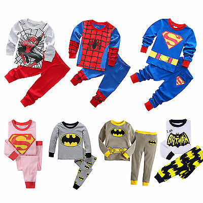 Kids Boys Girls Superman Batman Outfit Set Superhero Pajamas Long Sleeve Pyjama