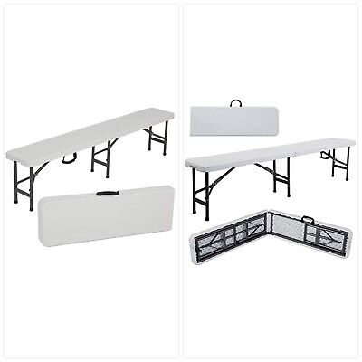 Ontario Furniture- White Plastic Folding Portable Bench for Indoor, Outdoor Picn