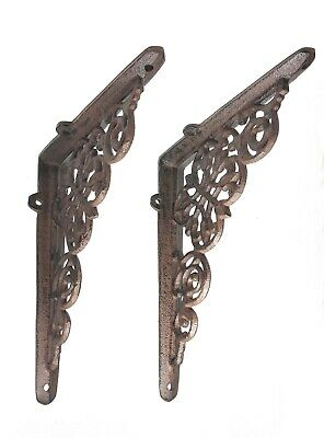 2 Pack Ornate Cast Iron Farmhouse Country Floral Vine Scroll Antique Style Brown