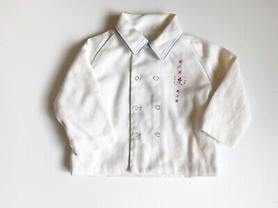 Vintage Childs Baby Coat Hand Embroidery French Knot White Warm Winter