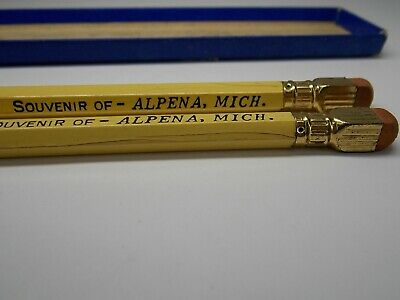 Vintage Pencils 1930's 1940's from Alpena Michigan with Memento in Box