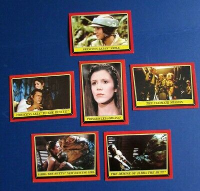 Lot of 6 PRINCESS LEIA STAR WARS Return of the Jedi Cards 1983  FREE SHIPPING