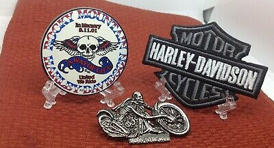 Harley Davidson 2  lapel pins &  3 INCH IRON ON logo  Patch