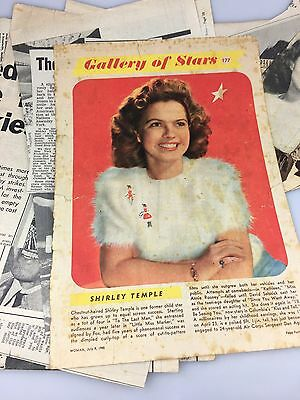 Vintage - Shirley Temple - Lot Of Newspaper Clippings