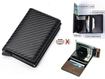 RFID Blocking Genuine Leather Credit Card Holder Money Cash Clip Wallet Purse