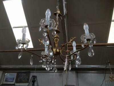 Antique Vintage French Gold Paint Metal Brass & Glass Chandelier Light Fitting