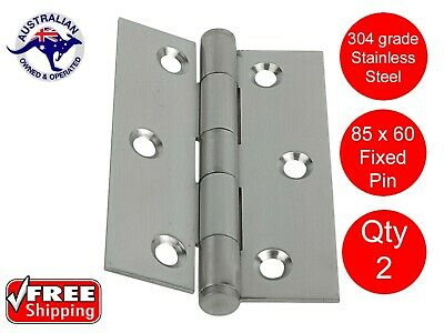 2 X STAINLESS STEEL DOOR HINGES 304 grade 85 x 60 BUTT HINGE FIXED PIN