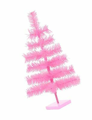 """18"""" Pink Christmas Tree Table-Top Centerpiece Small Barbie Pink Tinsel Branch..."""