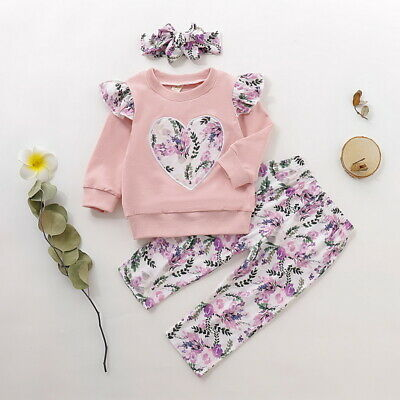 ✨Toddler Kids Baby Girl Clothes Floral T-shirt Tops Pants Outfit Sets Tracksuit