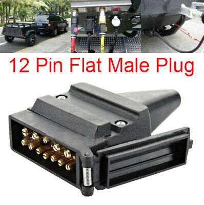 12 Pin Flat Male Plug Socket  Caravan Connector Camper Trailer Part Adaptor 12V