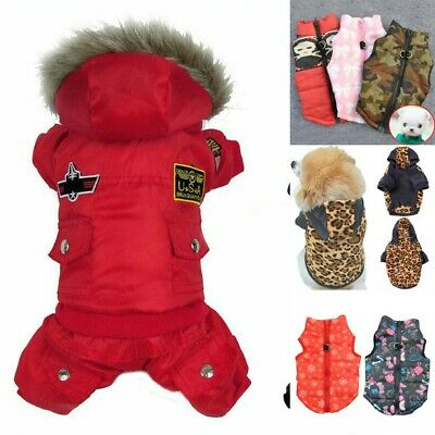 Small Pet Dog Cat Hoodie Down Jacket Puppy Winter Warm Coat Jumpsuit Clothes US