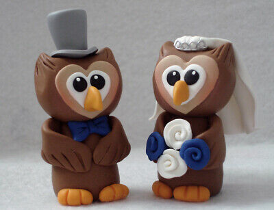 Personalised  Wedding Cake Topper, Bride and Groom Owl, Cake Decoration