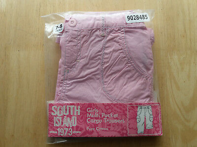 Girls South Island Pink Cargo Multi Pocket Trousers Cotton SIZE 7-8 Years
