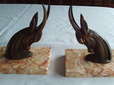 Set Of French Art Deco Spelter Styalised Deer - Ibex  Marble Book Ends
