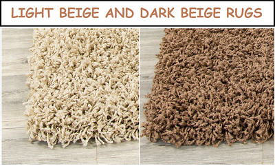 Small Large Beige Shaggy Rug Soft Fluffy Plain Thick 5Cm Pile Floor Carpet