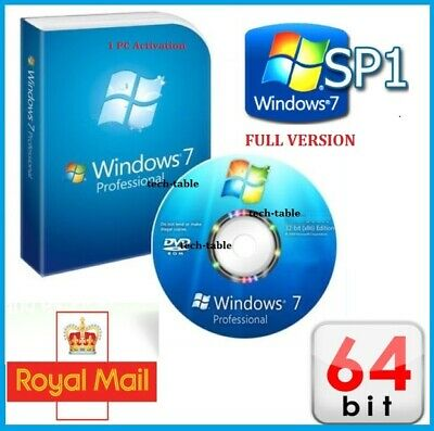 Windows 7 Professional 64-Bit DVD SP1 Full Version Activation CoA License PRO 10