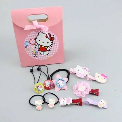 10pcs Hello Kitty Cat Hair Bobbles Kids Girls Gift Set Bands Accessories Clips