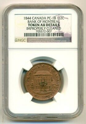 NGC Canada 1844 Bank of Montreal 1/2 Cent Token PC-1B AU Details