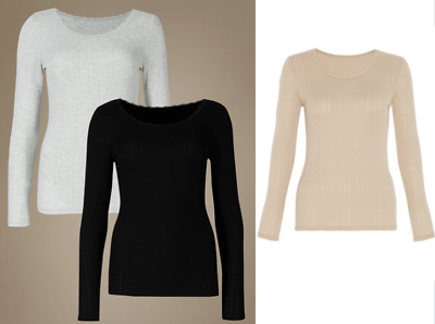 M&S COLLECTION  2 Pack Thermal Long Sleeve Pointelle Tops