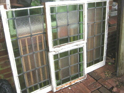 "4x Stained Glass Leaded Windows 1920s/30s Green Clear 37 x 18"" Reclaimed Panels"