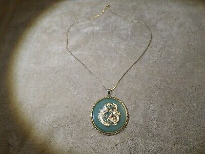 Large Jade & Yellow Gold Chinese Pendant W/ Opal- Red & Green Stones Very Nice!