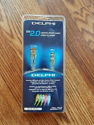 DELPHI 10/' USB 2.0 LIGHTED DEVICE CABLE RED LED LIGHT TYPE AB A-B A//B CABLE