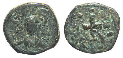 Byzantine Alexius I Class J Anonymous Follis Overstruck at Nicephorus III Follis