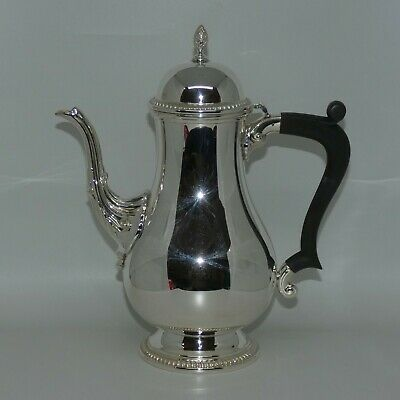 Barker Ellis quality EP silverplate on copper coffee pot with wooden handle