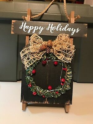 Christmas Wall or Door Hanging Wooden Sled with Light-up Wreath Happy Holidays