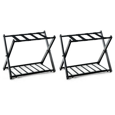 Set Of 2 Folding Metal Luggage Rack Suitcase Shoe Holder Guestroom w/Shelf Black