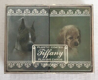 Tiffany Bridge Playing Cards Plastic Coated Sealed Two Dogs Double Deck Boxed