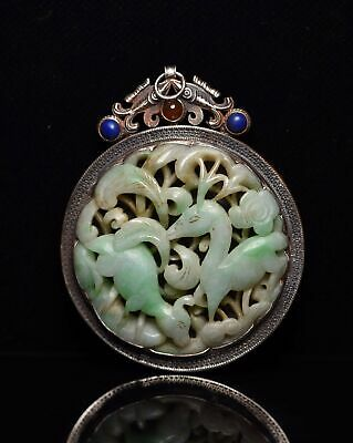 Chinese Exquisite Hand-carved deer Carving silver mosaic jadeite jade Pendant