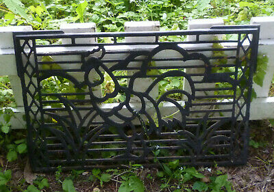 "Vintage Cast Iron Grate Rare Rooster Design 22"" x 15"" Rustic Farmhouse Decor"