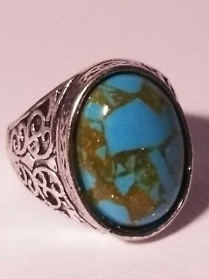 Turquoise silver ring.  Size 10,   925 silver stamped on the band.