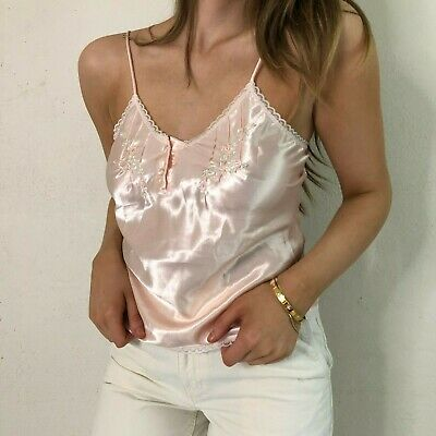 Vintage 1990s Erika Taylor Pale Pink Satin Cami Women's Small Lingerie
