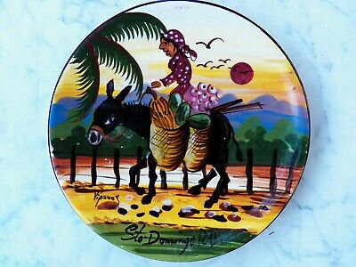 """Souvenir Vtg PLATE DOMINICAN REPUBLIC Hand-Painted 8"""" LADY ON DONKEY Sto domingo"""