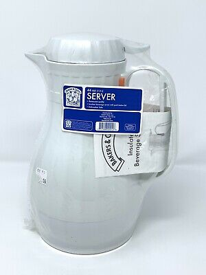 """BAKERS & CHEFS 44oz Beverage Server White Insulated 10""""H x 6""""W Dispenser Carafe"""