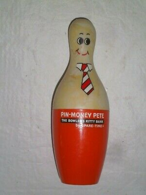 "Vintage ""PIN MONEY PETE"" Plastic Coin Bank by Spare Time – Bowler's Kitty Bank"