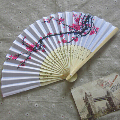 Bamboo Folding Wedding Portable Hand Fan Traditional Chinese Style Plum Blossom