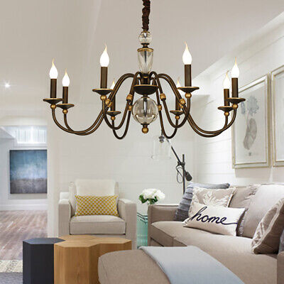Wrought Iron Eight Crystal Chandelier Living Room Pendent Lamps Hanging Line