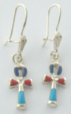 Ancient Egyptian Ankh Crux Ansata,Key of Life, Protection Amulet Silver Earrings