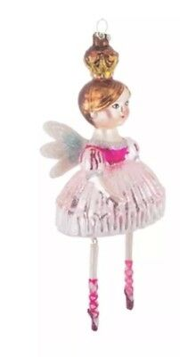 Blown Glass Hand Painted Winged Angel Christmas Ornament Ballerina Pink
