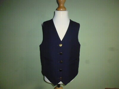 """Pretty Ponies girls navy blue wool waistcoat size 26"""" age 7-9 years shows"""