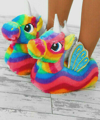 Rainbow Unicorn New Womens Girls Novelty 3D Character Plush Slippers Size 3/4