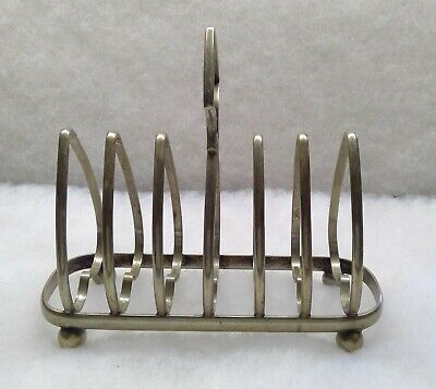 Antique EPNS Silver Plated 6 Slot Toast or Letter Footed Holder Heart Shpd (Eng)