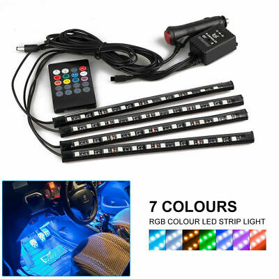 4x 12LED RGB LED Car Interior Light Neon Atmosphere Ambient Music Control Lamp
