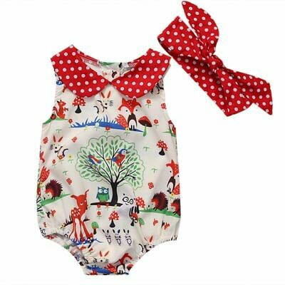 Lovely Newborn Bodysuits Infant Baby Girl Jumpsuits Headband Clothes Outfit Set