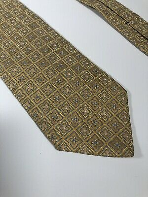 """Brooks Brothers 346 Pure Silk Gold Mens Neck Tie 59"""" Long 3.25"""" Wide"""