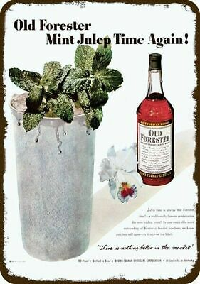 1950 OLD FORESTER BOURBON WHISKY & MINT JULEP Vintage Look REPLICA METAL SIGN