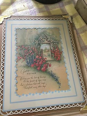 Antique GREETINGS to MOTHER Poetry Art Picture Print  GORGEOUS GLASS Frame